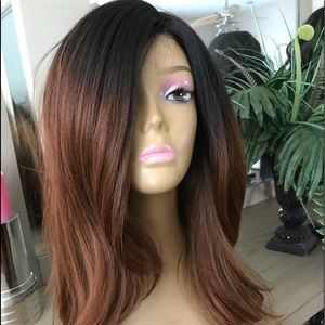 BROWN OMBRÉ THICK SIDE PART STRAIGHT LAYERED WIG